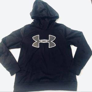 Under Armor UA Hoodie Medium Loose Black Quilted